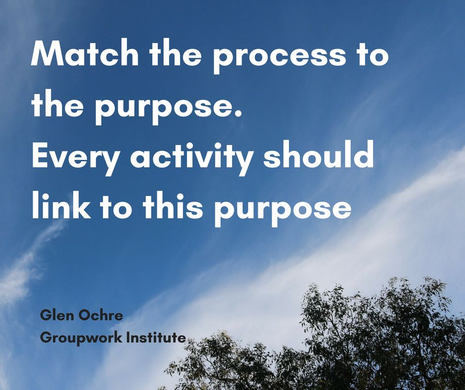 Text: What are some of the things we need to do or not do to make this go well? On inviting people to form agreements about their work together. Glen Ochre, Groupwork Institute Blue sky and top of tree background