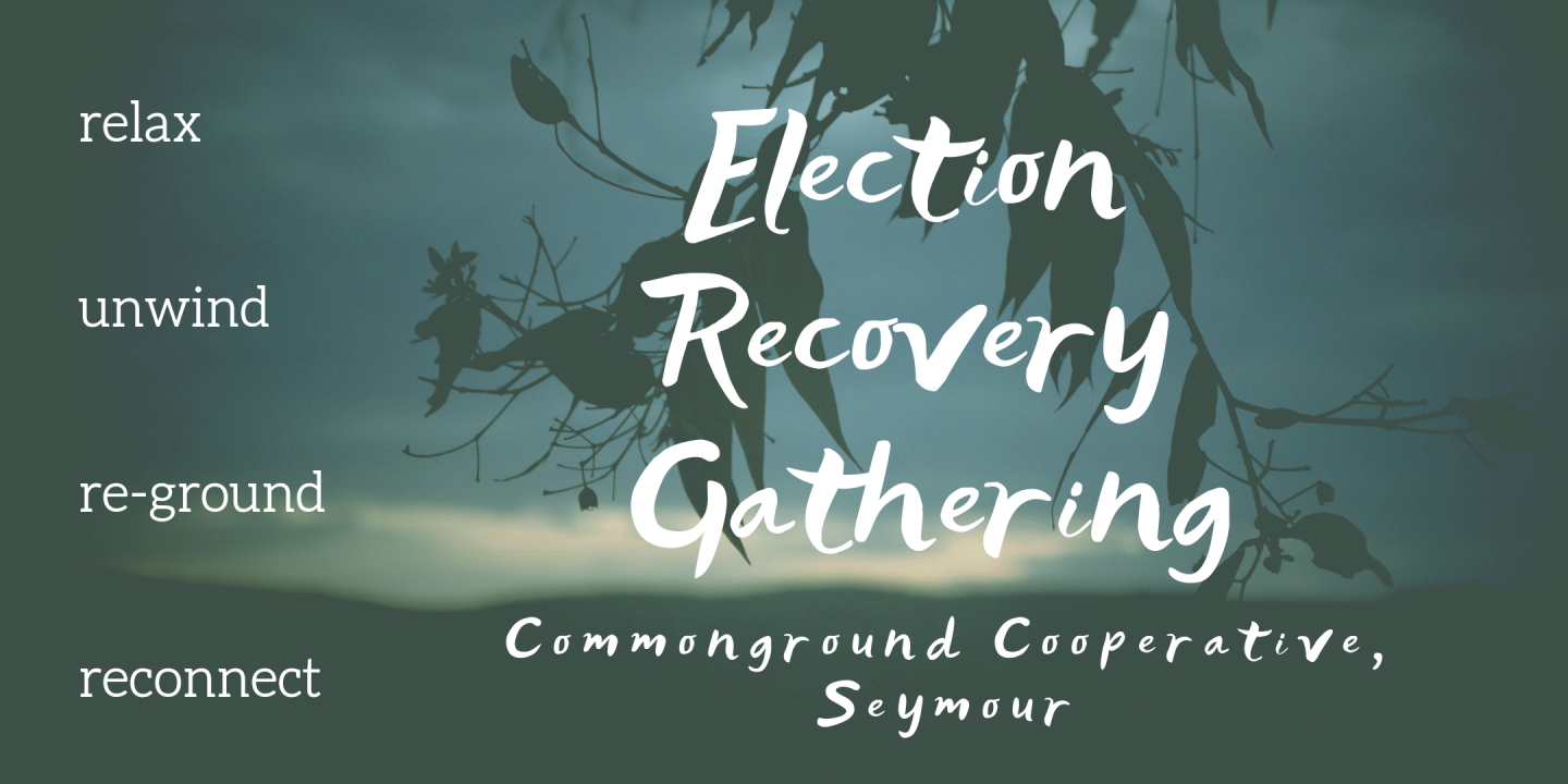 Notice about Election Recovery weekend at Commonground on 30 May 2019